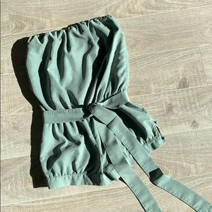 Guess Romper Strapless Olive Green Size S